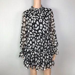 TCEC mock neck tiered ruffle dress